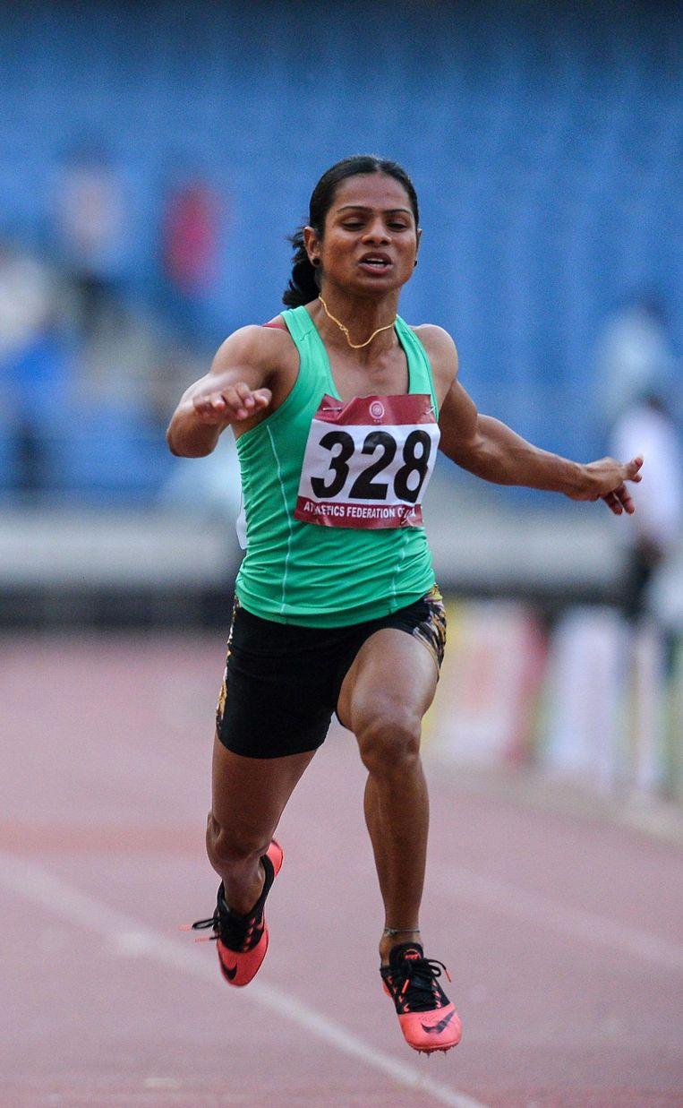 De Indiase hyperandrogene sprintster Dutee Chand. Beeld afp