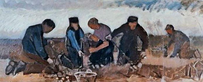 Van Gogh, aardappelrooiers olieverf op doek, 1883.