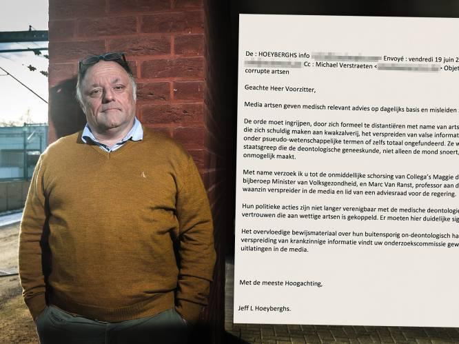 """Marc Van Ranst deelt stomende brief die Jeff Hoeyberghs naar Orde der Artsen stuurde om hem te laten schorsen: """"Professor met bijberoep waanzinverspreider"""""""