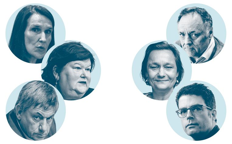 Links de politici (Sophie Wilmès, Maggie De Block, Jan Jambon), rechts de experts (Marc Van Ranst, Erika Vlieghe, Steven Van Gucht).  Beeld belga / isopix / Tim Dirven / Photo News / Wouter Van Vooren