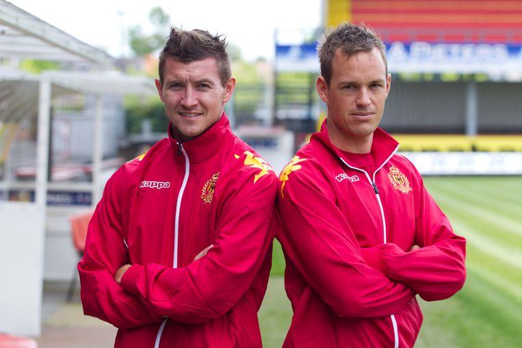 Twee van de drie Deense aanwinsten: Mads Junker en Thomas Enevoldsen Beeld BELGA