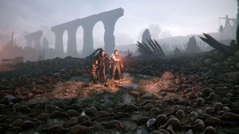 De beloftevolle Franse videogame 'A Plague Tale: Innocence' haalt zijn invloeden uit Franse architectuur, landschappen en een tekenstijl uit de stripwereld. Beeld Focus Home Interactive
