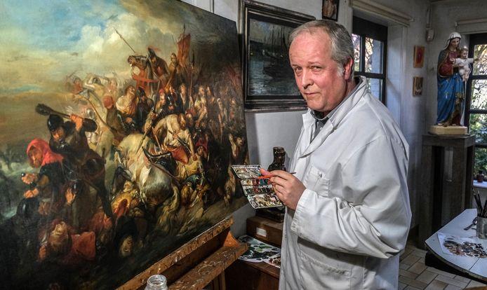 Frederik Cnockaert van atelier Kerat uit Wervik, bij De Slag der Gulden Sporen