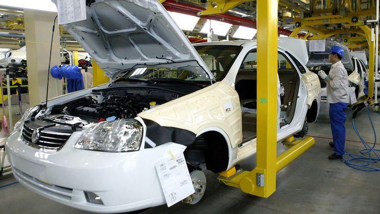 Autofabriek van General Motors in Shanghai. Beeld afp