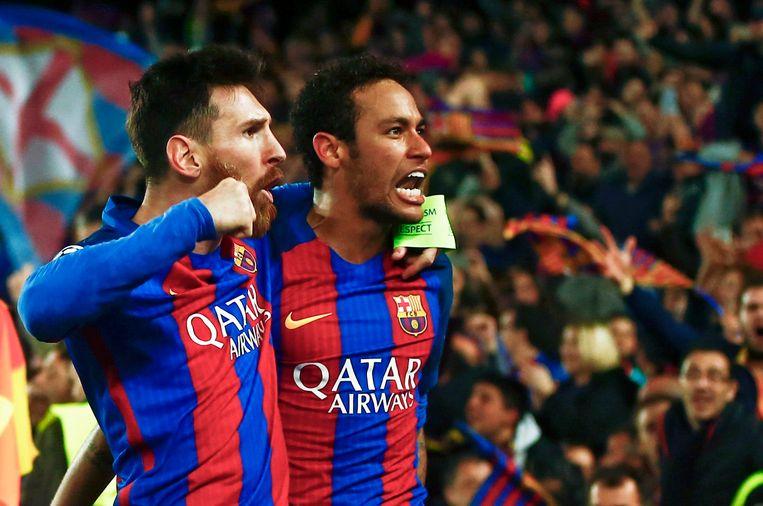 Lionel Messi (L) and Neymar (R) vieren de 6-1-zege tegen PSG in Camp Nou, afgelopen woensdag. Beeld EPA