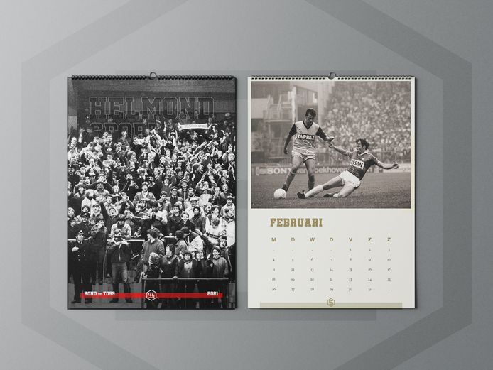 De cover van de kalender is een foto van een vol Helmonds uitvak in het Philips Stadion in 1983.