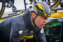 Tom Dumoulin tijdens de verkenning van de openingstijdrit in de Ronde van Zwitserland.