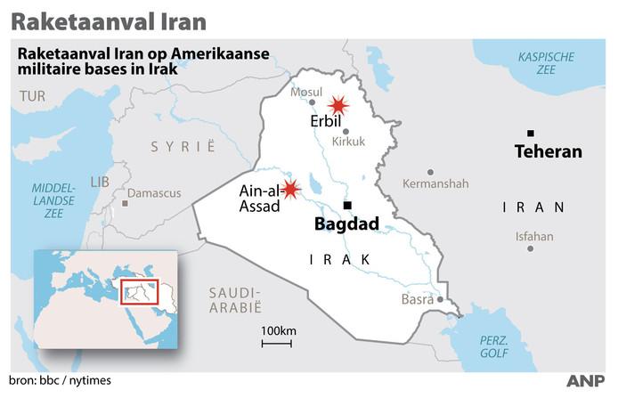 Raketaanval Iran op Amerikaanse doelen in Irak.