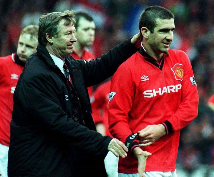 Eric Cantona met toenmalig coach Ferguson.