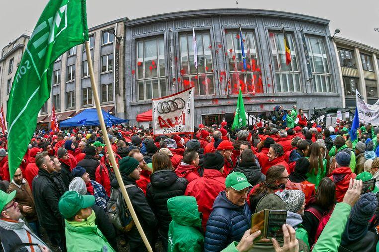 In december hielden de vakbonden nog een nationale actiedag.  'We merkten toen al een grote actiebereidheid om de koopkracht op de kaart te zetten.' Beeld Photo News