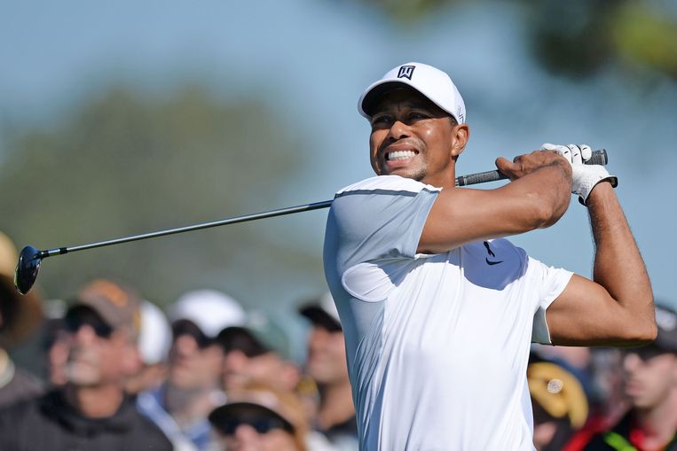 Tiger Woods bij het Farmers Insurance Open Golf toernooi gisteren