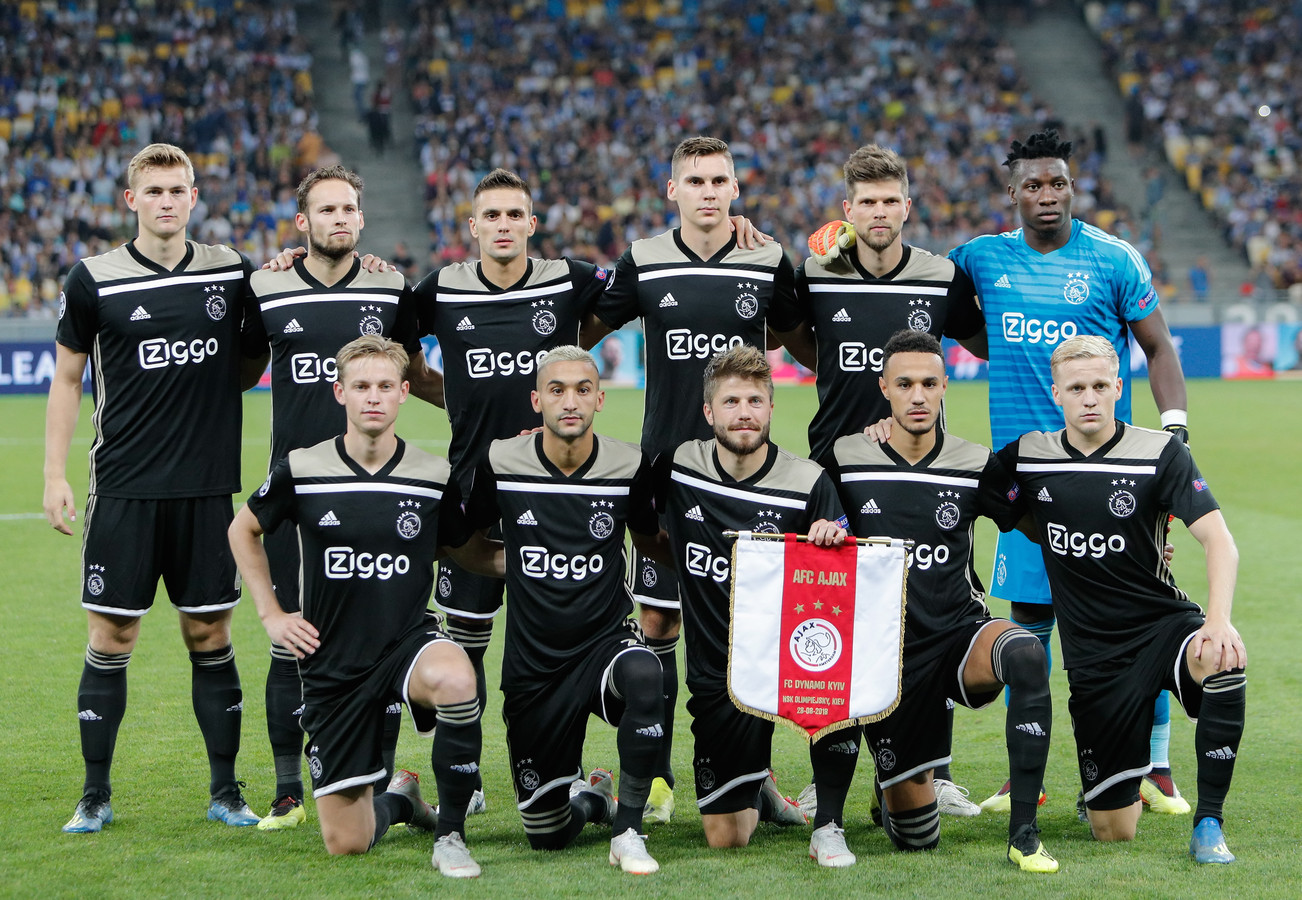 De basiself van Ajax voor de wedstrijd tegen Dinamo Kiev.