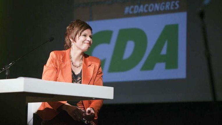 Partijvoorzitter Ruth Peetoom waarschuwde tijdens het congres in oktober al dat de nieuwe koers de verhoudingen met VVD en PVV kan beïnvloeden. ©Werry Crone Beeld