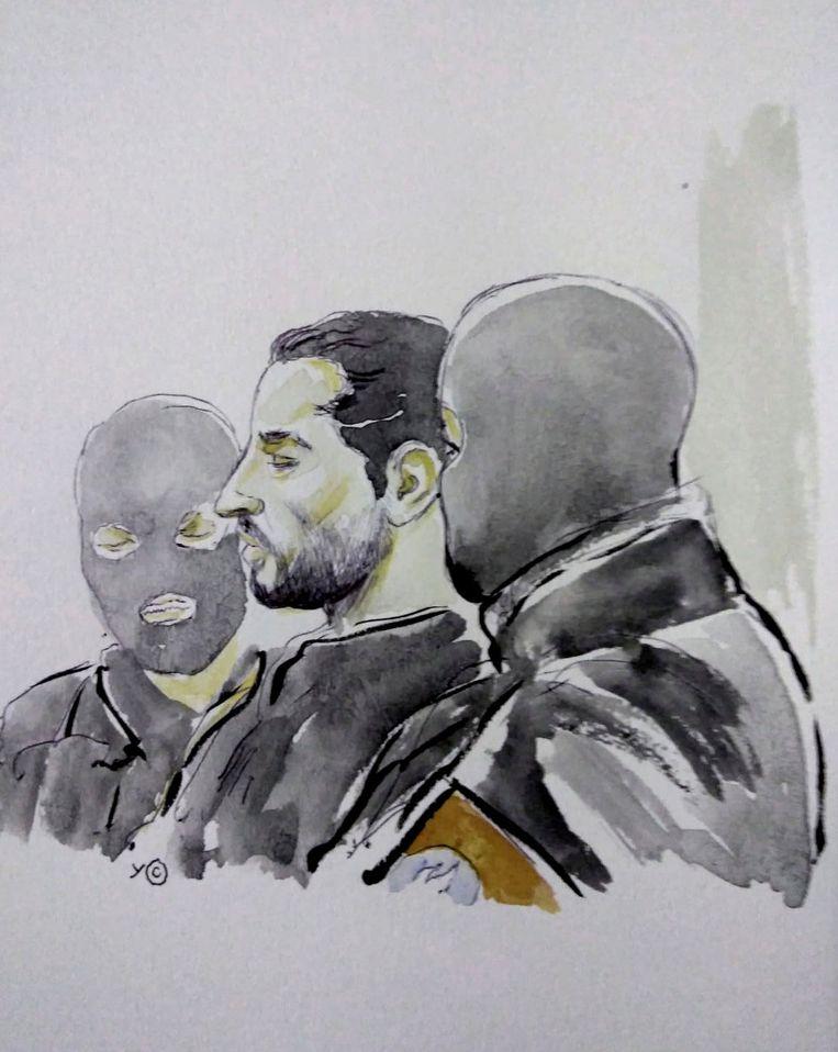 Een tekening van Nemmouche tijdens zijn proces in het Brusselse Justitiepaleis. Beeld REUTERS