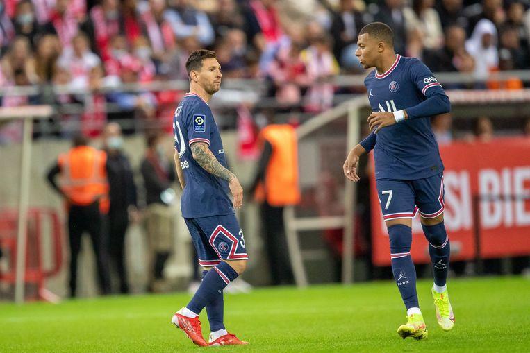 Lionel Messi en Kylian Mbappé van PSG. Beeld Photo News