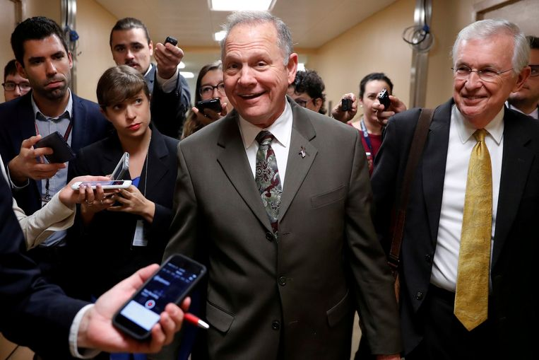 De Republikeinse senaatskandidaat Roy Moore  in Washington op 31 oktober 2017.