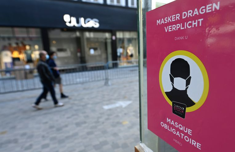 BRUSSELS, BELGIUM - JULY 13 : Since Saturday, July 11, 2020, the wearing of masks is mandatory and therefore imposed in shops and shopping malls, cinemas, auditoriums or conference rooms, museums, libraries&  The mandatory wearing of masks pictured Rue neuve - Nieuwstraat in Brussels July 13, 2020 in Brussels, Belgium, 13/07/2020 ( Photo by Didier Lebrun / Photonews Beeld Photo News