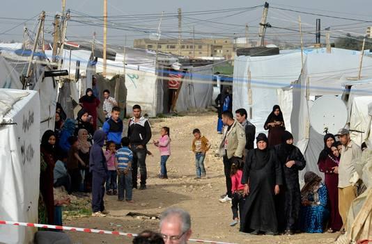 Syrische vluchtelingen in een vluchtelingenkamp in Libanon.