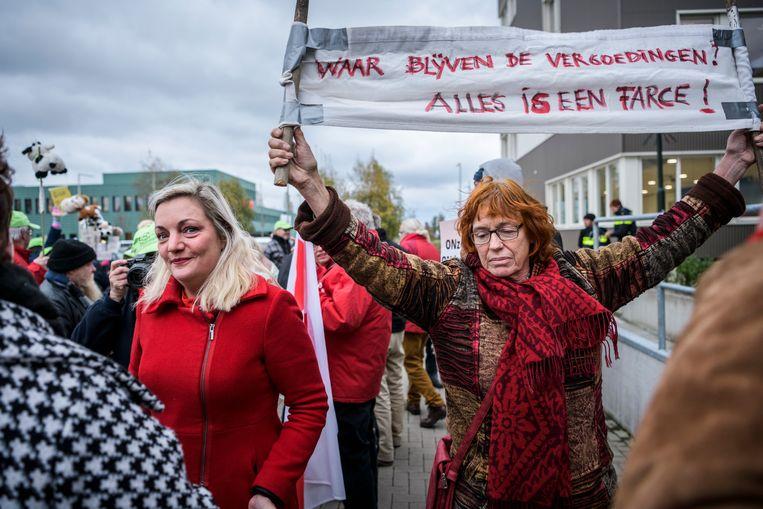 SP-Kamerlid Sandra Beckerman (links) bij een protestactie in het Groningse Appingedam. Beeld Kees van de Veen