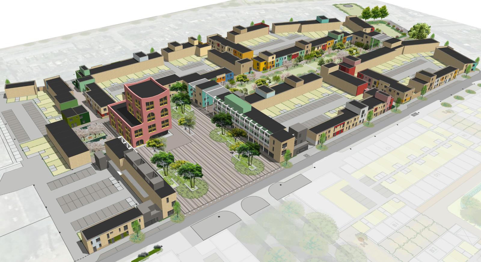 Overzicht van de laatste fase  van de stadsvernieuwing in Woensel-West, Eindhoven. Dit nieuwbouwproject ligt rond het vergrote Celsiusplein met daarop een nieuw 'waaggebouw' met buurtvoorzieningen.
