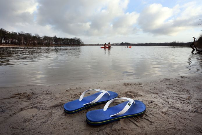 Ook in de wintermaanden zijn er fanatieke zwemmers die dagelijks of wekelijks een duik in de Galderse Meren nemen.