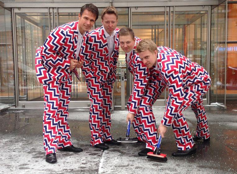 Het Noorse curlingteam in 2014. Beeld AP