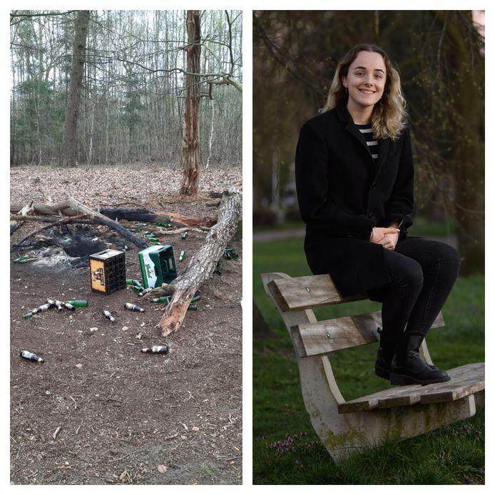 Links: de troep na een uitbundig feestje midden in natuurgebied Roderveld. Rechts: Zoë Wolff.