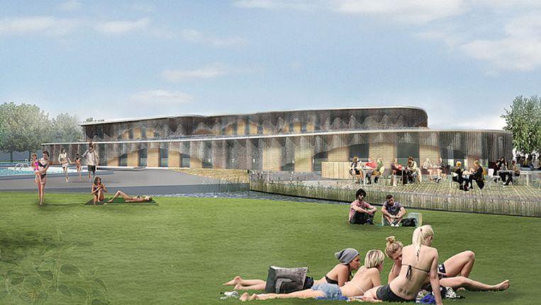 Het voorlopig ontwerp voor het Noorderparkbad. Beeld