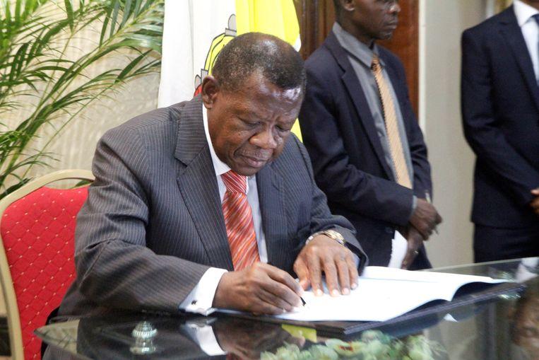 Lambert Mende, woordvoerder van de Congolese regering.