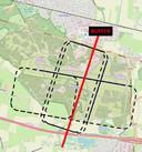 De oude situatie van aanvliegroutes van Historische Vlucht op Gilze-Rijen beslaat minder ruimte maar zou daardoor meer overlast geven. De rode lijn is de grens tussen zweefvliegers en Historische Vlucht.