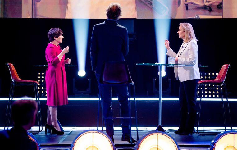 Lilianne Ploumen en Sigrid Kaag, hier in debat, geven leiding aan niet-confessionele partijen.   Beeld ANP