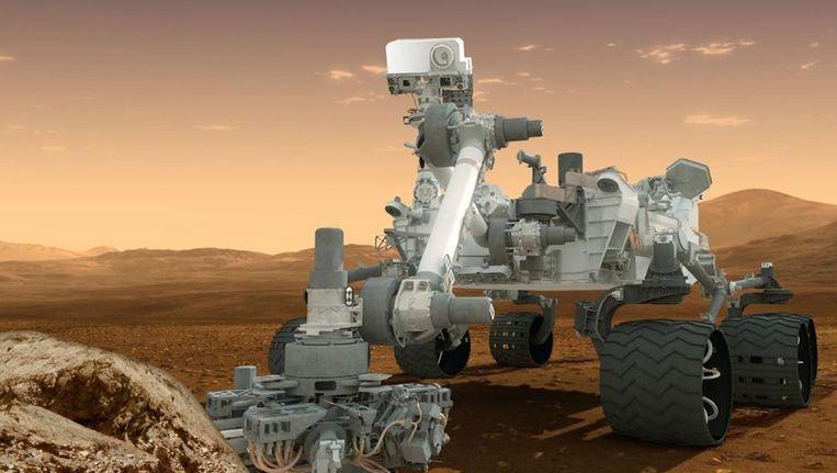 Een conceptontwerp van NASA's Mars Science Laboratory Curiosity-robot Beeld ANP