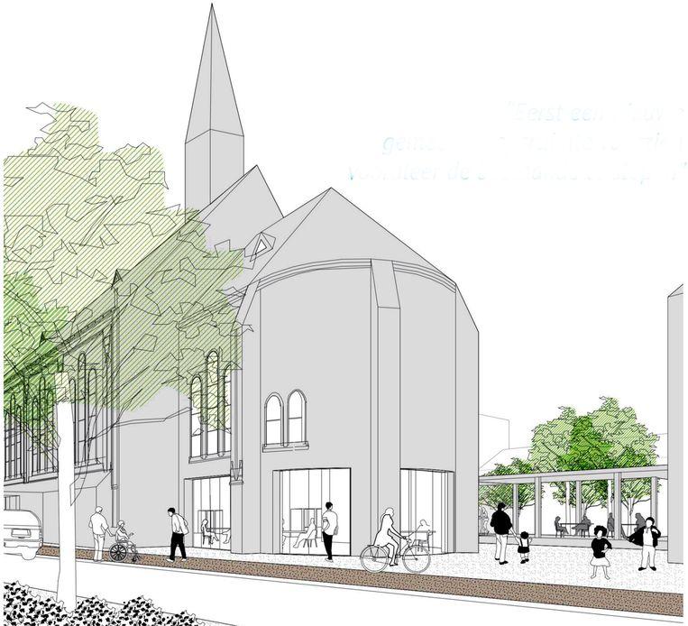 Een toekomstimpressie van de Paterskerk als gemeenschaps- en cultuurcentrum.