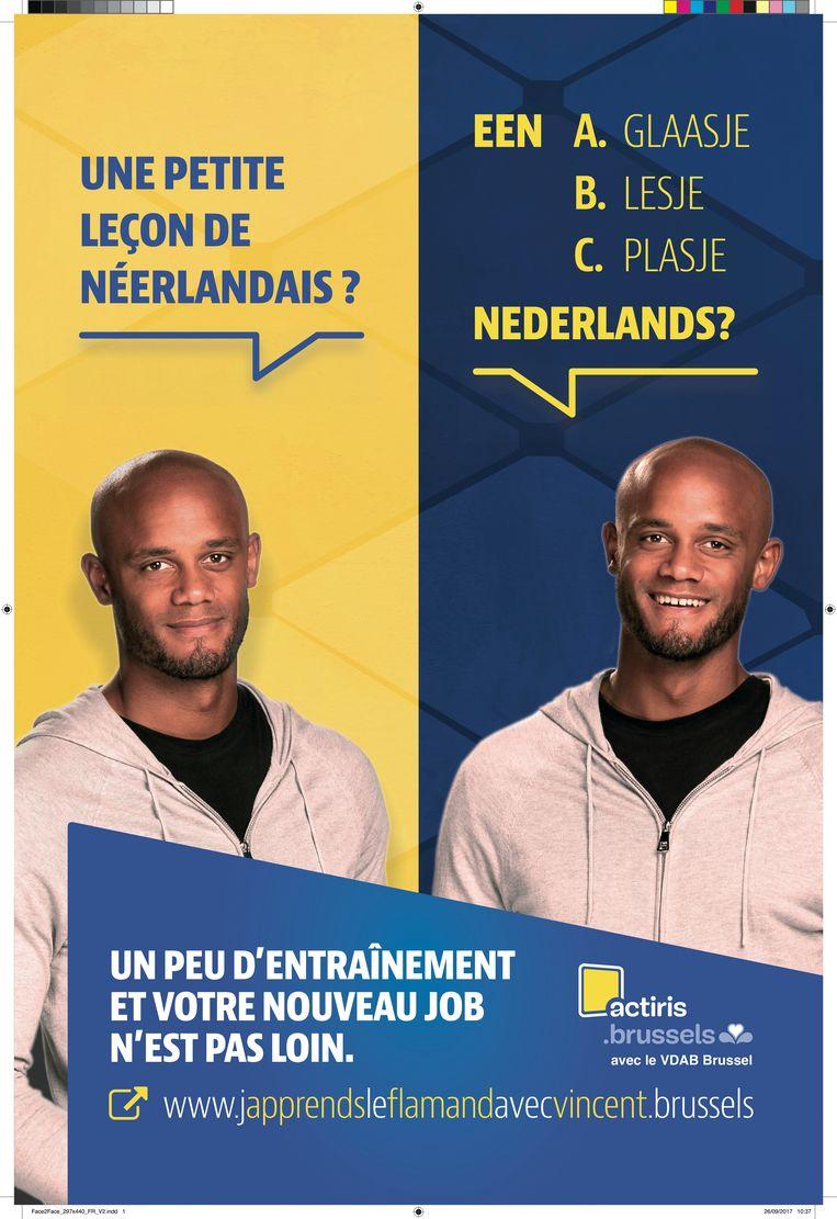Affiche van de Actiris campagne met Vincent Kompany. Beeld rv