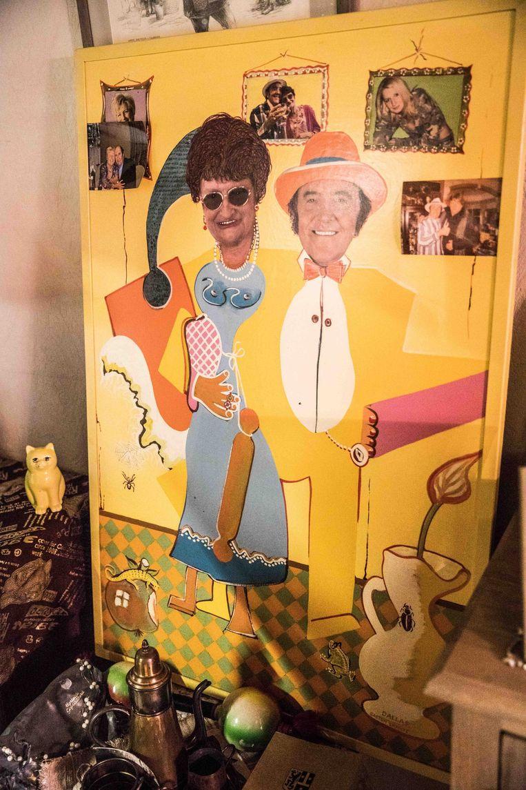 Nog in het ouderlijk huis: een collage met in het midden Eddy en Mariëtje.