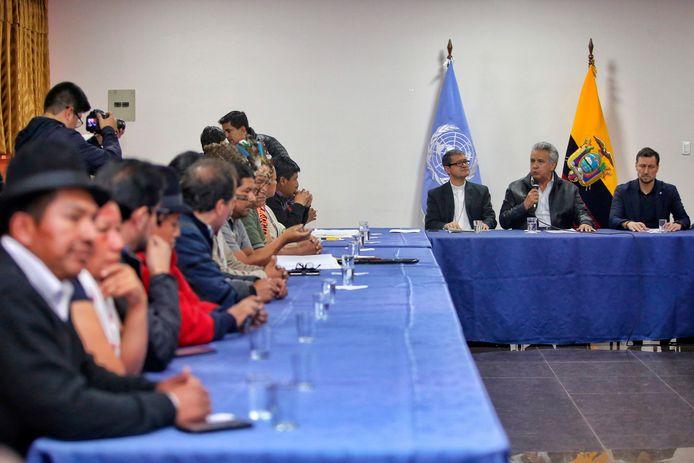 Inheemse protestleiders gingen zondag in gesprek met president Lenin Moreno.