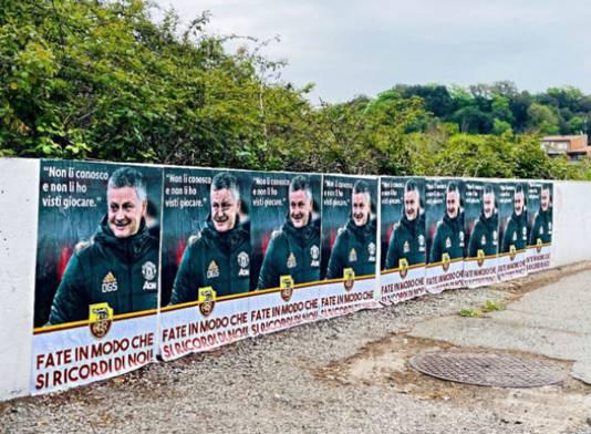 De posters met de uitspraak van Solskjaer.