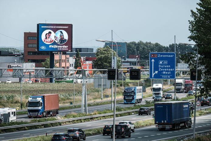 Billboard langs de A12 met de campagne 'Kijk verder in de Liemers'.
