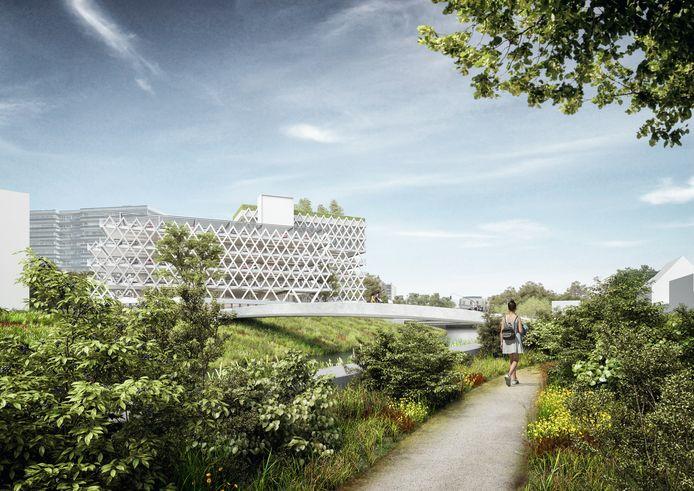 Een impressie van het toekomstige parkeergebouw.