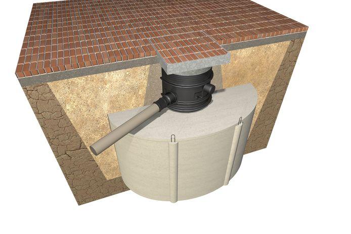 Onder je oprit of gazon wordt een betonnen of kunststof regenwaterput geplaatst. Hoe groot die moet zijn, hangt af van de oppervlakte van je dak.