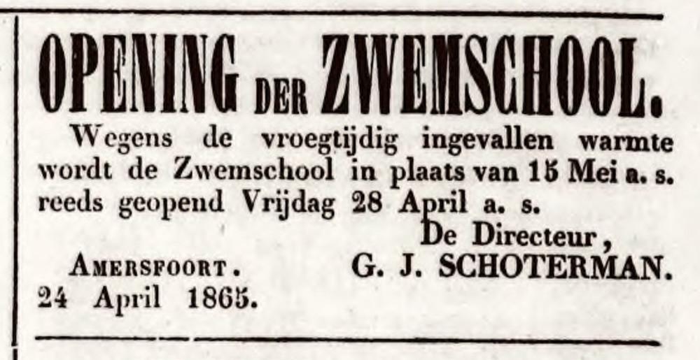 Zwembadpionier Gerrit-Jan Schoterman adverteerde geregeld in de Amersfoortsche Courant.