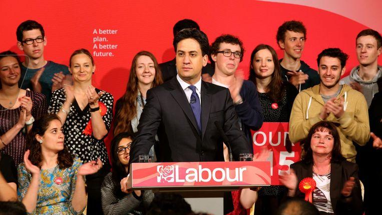 Labour-leider Ed Miliband op campagne in het noorden van Engeland.