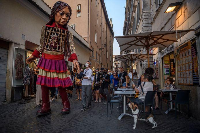 Little Amal bezocht op 12 september Rome.
