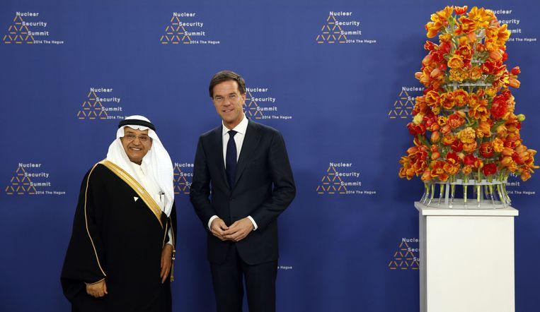 Rutte met Hashim Yamani uit Saudi-Arabië Beeld AFP