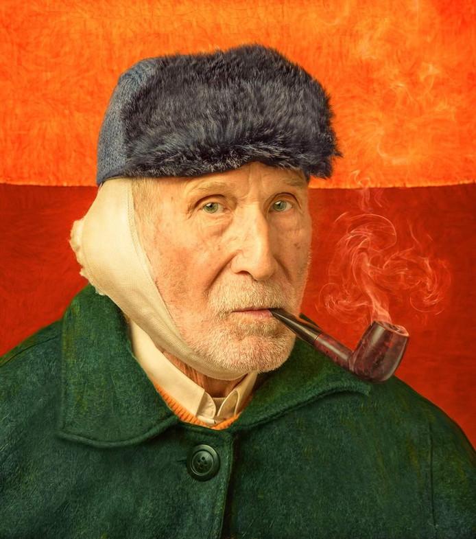 'Zelfportret met verbonden oor en pijp'  van Marc Boom.