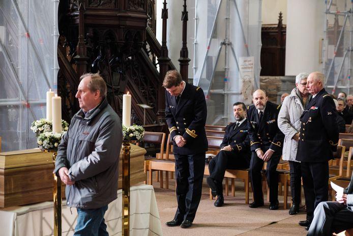 De begrafenis van Marcelle Lombaerts-Van den Bril.  Ook burgemeester Jeroen Baert was aanwezig.