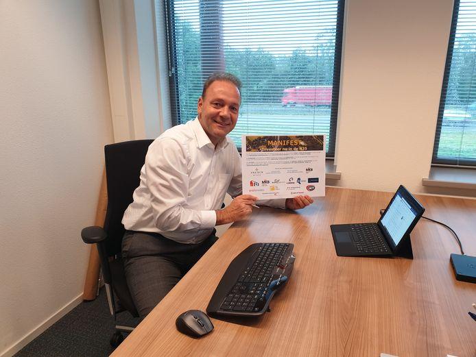 Laurens de Lange, voorzitter VNO-NCW Overijssel, overhandigt digitaal het manifest Investeer nu in de N35' aan gedeputeerde Boerman van provincie Overijssel.