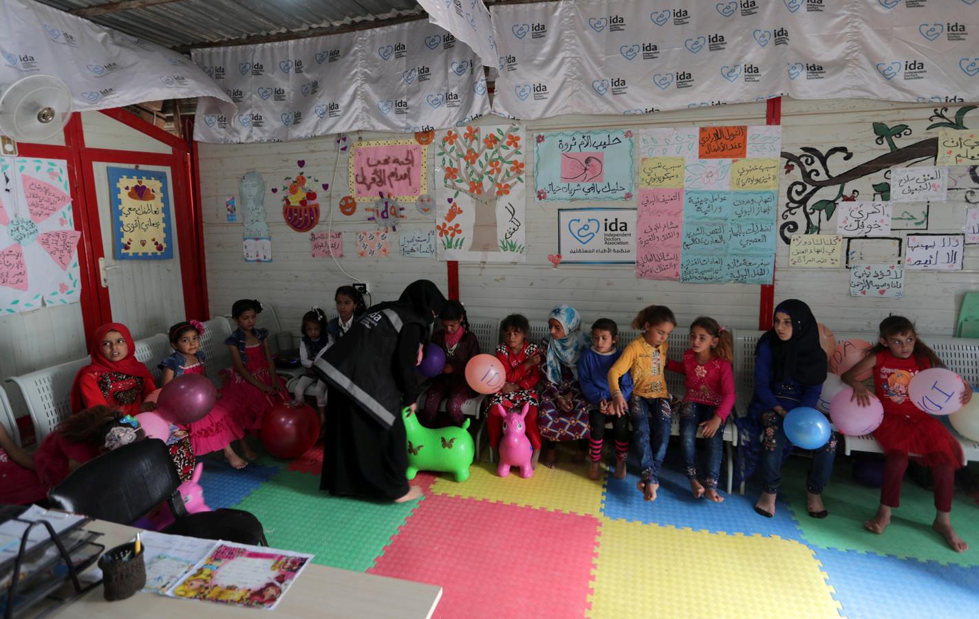 Syrische kinderen in een vluchtelingenkamp in Azaz. (archieffoto)