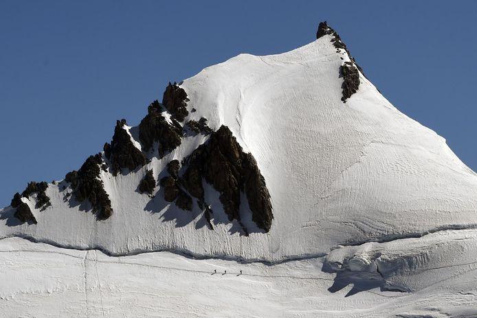 Alpinisten op de Mont-Blanc in Chamonix in het oosten van Frankrijk.