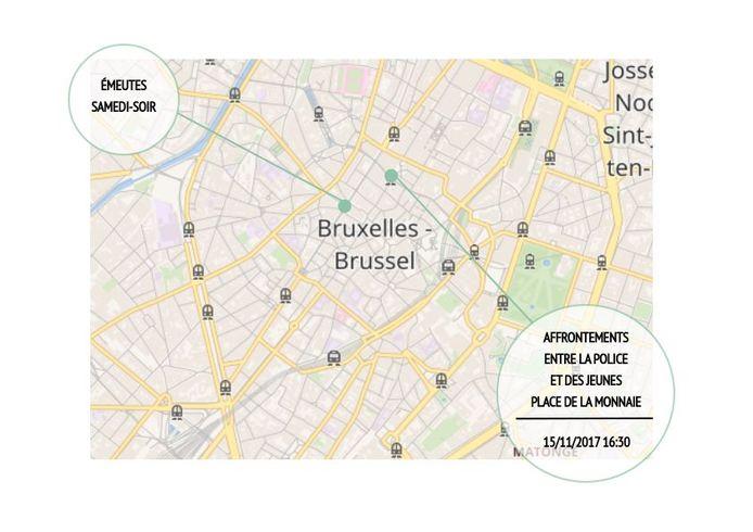 Zaterdagavond waren er rellen op de Lemonnierlaan. Vandaag op het Muntplein.